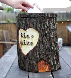 Rustic Wooden Log Wedding Card Holder
