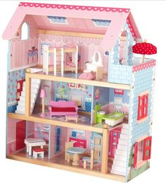 Wooden Dollhouse With Furniture KidKraft Chelsea Cottage Kids Play Doll House  #WoodenDollhouseWithFurniture #Cottage