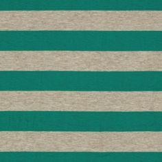 Designer Stretch Rayon Jersey Knit Stripes Jade/Oat