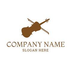 White and Brown Violin Icon logo design