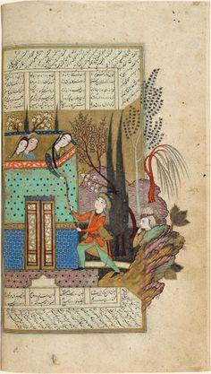 Rencontre secrète Ferdowsi, Shâhnâmeh (Le Livre des rois) Ispahan (Iran), 1615-1618. Art For Art Sake, All Art, Iranian Art, Traditional Paintings, Illuminated Manuscript, Islamic Art, Persian, Miniatures, Book Art