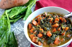 African Peanut Stew with Sweet Potatoes and Spinach