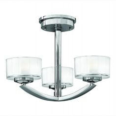 """Meridian Chrome Semi-Flush Ceiling Light •Chrome Finish  •Clear Inside Etched Glass  Specifications:•12.25"""" high, 16"""" diameter"""