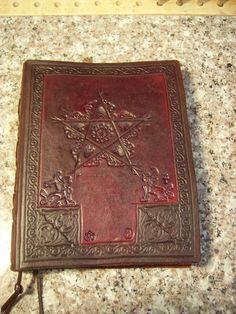 Magickal Ritual Sacred Tools:  Handtooled leather journal ~ Book of Shadows, diary, etc., with a pentagram design.