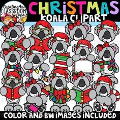 Christmas Koalas Clipart {Christmas Clipart} Vibrant and Whimsical Koala Clipart is sure to add a pop to all of your  Holiday classroom resources! There are a total of 34 images (17 color  and 17 bw).