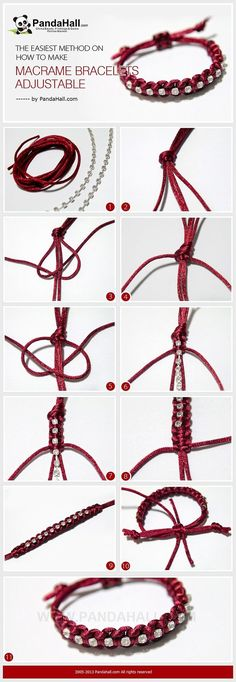 Jewelry Making IdeaHow to Make Adjustable Macrame Bracelets It is another bracelet making tutorial, at meanwhile, I will emphasize the subject about how to make macrame bracelets adjustable in simple way again. Especially for those who learn to knot for j Macrame Jewelry, Macrame Bracelets, Wire Jewelry, Jewelry Crafts, Jewelry Ideas, Wire Rings, Macrame Knots, Jewelry Shop, Jewelry Bracelets