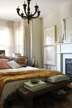 Love the table at the end of the bed peaceful bedroom. @ the marion house. Peaceful Bedroom, Cozy Bedroom, Dream Bedroom, Bedroom Decor, Bedroom Ideas, Inspiration Design, Living Room Inspiration, Boudoir, Beautiful Bedrooms