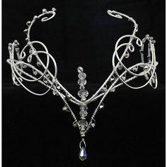 Silver swarovski elements wedding Galadriel Arwen circlet tiara head... ($112) ❤ liked on Polyvore featuring accessories, hair accessories, crowns, jewelry, tiaras, circle, circular, round, silver crown and silver hair pins