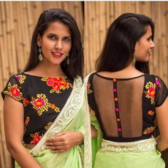 Blouse Designs High Neck, Netted Blouse Designs, Saree Blouse Designs, Blouse Patterns, Blouse Designs Catalogue, Blouse Desings, Kalamkari Dresses, Stylish Blouse Design, Saree Look