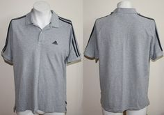 Genuine Puma Adidas Sport Polo Shirt Size L Grey Colour Fashion Designer Mens