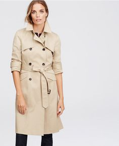 New Ann Taylor Khaki Classic Trench Jacket Size L   eBay