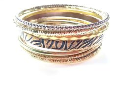 Classic 80s Bangle Bracelets - Gold Tone Funky Mixed Styles- Make a Statement