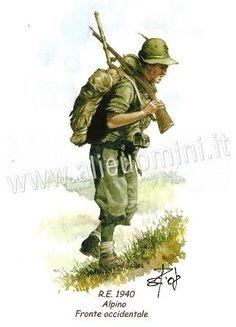 Fronte Occidentale, 1940 Alpino, armato con un fucile Carcano e pare sia con un adeguato equipaggiamento rispetto agli anni successivi.