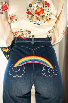 rainbow butt  http://www.refinery29.com/2015/11/97155/good-for-nothing-embroidery-fashion-studio-tour#slide-2  Somewhere over the rainbow......