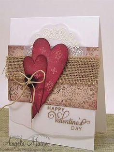 Valentine's Day by Arizona Maine - Cards and Paper Crafts at Splitcoasts. - Valentine's Day by Arizona Maine – Cards and Paper Crafts at Splitcoaststampers - Valentine Day Crafts, Happy Valentines Day, Valentines Day Cards Handmade, Valentine Decorations, Paper Cards, Creative Cards, Anniversary Cards, Homemade Cards, Wedding Cards