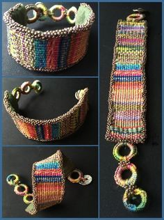 I can't seem to stop weaving silk (which, by the way, is on sale until that. Fiber Art Jewelry, Textile Jewelry, Macrame Jewelry, Fabric Jewelry, Jewellery, Weaving Projects, Weaving Art, Tapestry Weaving, Loom Weaving
