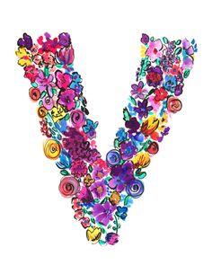 V Letter Floral Art Print