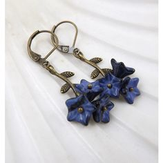 Navy Blue Flower and Branch Earrings ($12) ❤ liked on Polyvore