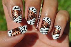 Mixed animal prints - zebra (black and white) & leopard (golden bronze & black) nail art