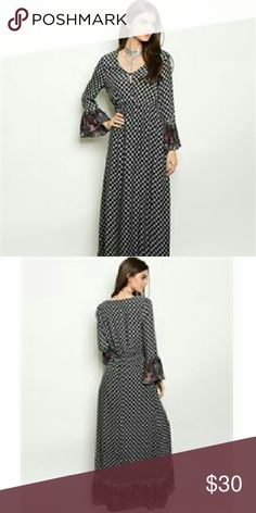 White & Magenta Maxi Dress Long sleeve v neck smock waist border print maxi dress. They come from a pet free/smoke free home. I have them in sizes s, m, l. Check out my closet for other colors/styles+ more added soon. Dresses Maxi
