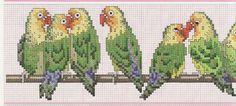 Borduurpatroon Kruissteek Papegaai - Parkiet *Embroidery Cross Stitch Pattern Parrot ~Agapornissen op tak 1/3~