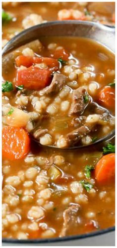 The Rise Of Private Label Brands In The Retail Meals Current Market Beef Barley Soup Incredibly Easy And So Delicious Vegtable Beef Soup, Chicken Barley Soup, Slow Cooker Beef, Slow Cooker Recipes, Cooking Recipes, Healthy Recipes, Yummy Recipes, Dinner Recipes, Bon Appetit