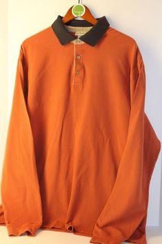 L L Bean Long Sleeve Polo Rugby Shirt Mens XL Rust Blue  #LLBean #PoloRugby