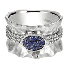 Gabriel 0.29 Carat Blue Sapphire Sterling Silver Cluster Ring Featuring a Hammered and Matte Finish · LR50027SVJSA · Ben Garelick Jewelers