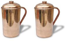 Copper Pitcher Jug With Lid Handmade Drink ware Accessories 34 Oz Set Of 2. #Buddha4all
