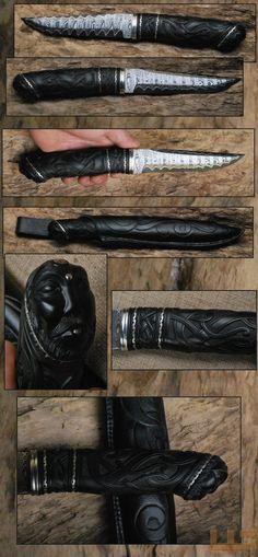 Gerdil Лоран - Скульптура - Человек сэндвич Дамаск лезвие по Poul Strande L: толщина см 16: 4 мм черное дерево ручки, нейзильбер охранник и распорки. Общая длина: 32 см