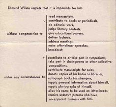 The Best Decline Letter of All-Time: Edmund Wilson