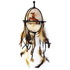 """20"""" Horse Dream Catcher Ball With Beads and Feathers"""