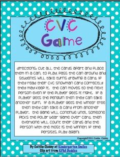 This great game can be played in a small group or paired.  It is great for your beginning readers!  There are 45 different CVC word cards and 9 'sp...