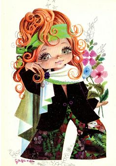 Red Haired Girl - Vintage unsent 1970s postcard of a Big Eyed Girl