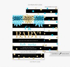 Blue Gold Baby Shower Invitation - Printed, Kate Spade Inspired Black White Brunch Bubbly Floral Confetti Sprinkle Glitter Striped Sip See Boy Modern - chitrap.etsy.com