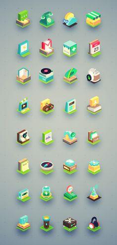 Beautiful Isometric icon set (32 icons)