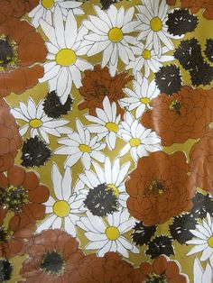 $50, Vintage 1970s Glazed Cotton Floral Print Fabric by WallTex, Columbus Coated Fabrics, by tikiroomvintage