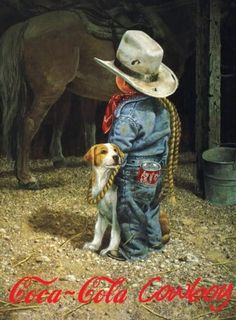 """Coca Cola Cowboy"" ~ by Artist, Don Crook ~ ♥ :) Little Cowboy, Cowboy And Cowgirl, Cowboy Humor, Pin Ups Vintage, Cowboy Pictures, Cowboy Pics, Cowboy Images, Into The West, Cowboys And Indians"