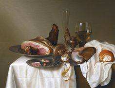 Maerten Boelema de Stomme (Dutch, 1611.after 1664). Still Life with a Ham, a Glass and a Nautilus Cup on a Table Draped with a White Cloth, 1642