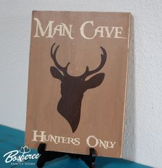 Man Cave Hunters Only Wood Sign - Painted Rustic Deer Silhouette 9x12 Wood sign - Perfect Gift Idea