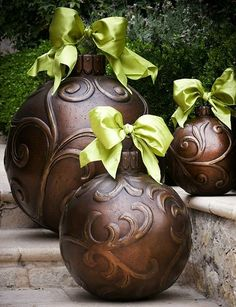 Over sized outdoor ornaments.