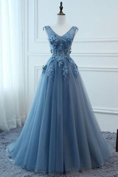 A Line V Neck Blue Lace Prom Dress, Tulle Lace Formal Dreses, Lace Evening Dresses,Blue Graduation Dresses - Source by - Blue Lace Prom Dress, Blue Evening Dresses, A Line Prom Dresses, Tulle Prom Dress, Prom Party Dresses, Lace Dress, Tulle Lace, Blue Gown, Illusion Prom Dresses