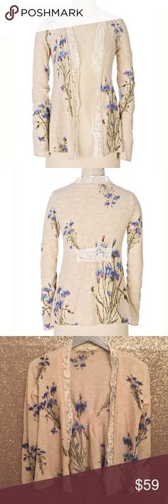 """Anthropologie Flatbrookville Cardigan Floral Lace Knitted & Knotted from Anthropologie  Flatbrookville Cardigan  Lace-tipped and printed with a valley's worth of wildflowers, this open-front sweater is redolent of spring.  Size Small  Wool, nylon, spandex  Excellent used condition!  Bust: 17"""" across the front, lying flat. Has stretch.  Length: 24"""" from shoulder to hem.   ✳️ Bundle to Save 20%!  ❌ No Trades, Holds, PP, Modeling   100% Authentic!   ⭐️⭐️ Suggested User • 1600+ Sales • Fast…"""