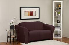 Diamond Stretch Merlot Loveseat Slipcover. Deeply embossed diamond pattern upholstery, merlot form fit slip cover design, living room, beautiful, deep red home decor