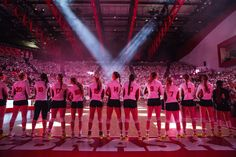 The Husker volleyball team is introduced prior to the match against Indiana on Nov. 8, 2014. By: BRENDAN SULLIVAN/THE WORLD-HERALD