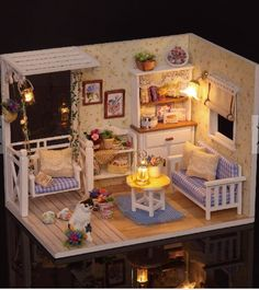 Candid Dollhouse Miniature Diy House Kit Creative Room With Furniture And Glass Cover For Romantic Artwork Gift flying Home In My Hea Grade Products According To Quality Home