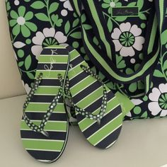 """Vera Bradley Flip Flops. Price Firm. So cute! Featuring a new striped design on the edge of the sole, these Flip Flops have a soft and flexible rubber sole that provides all-around comfort. Details: •Textured anti-slip base •Soft sole Dimensions-Toe to heel 10"""". Size M-7-8. Vera Bradley Shoes"""