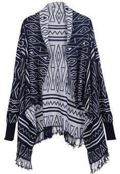 Black Long Sleeve Triangle Patterned Tassel Sweater