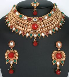 Bridal and Wedding Party Jewelry 164310: Huge Designer Bollywood Ethnic Wedding Bridal Gold Plated 3 Pcs Jewelry Set BUY IT NOW ONLY: $49.99