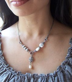 Pearl Necklace Vintage Patina Asymmetrical Beaded White Sterling Silver-  Eccentric
